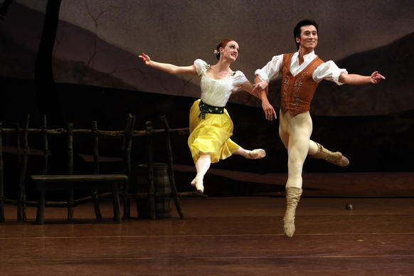 "Gillian Murphy portrays Giselle and Qi Huan is Albrecht in the Royal New Zealand Ballet's North American premiere of ""Giselle"" at the Dorothy Chandler Pavilion."