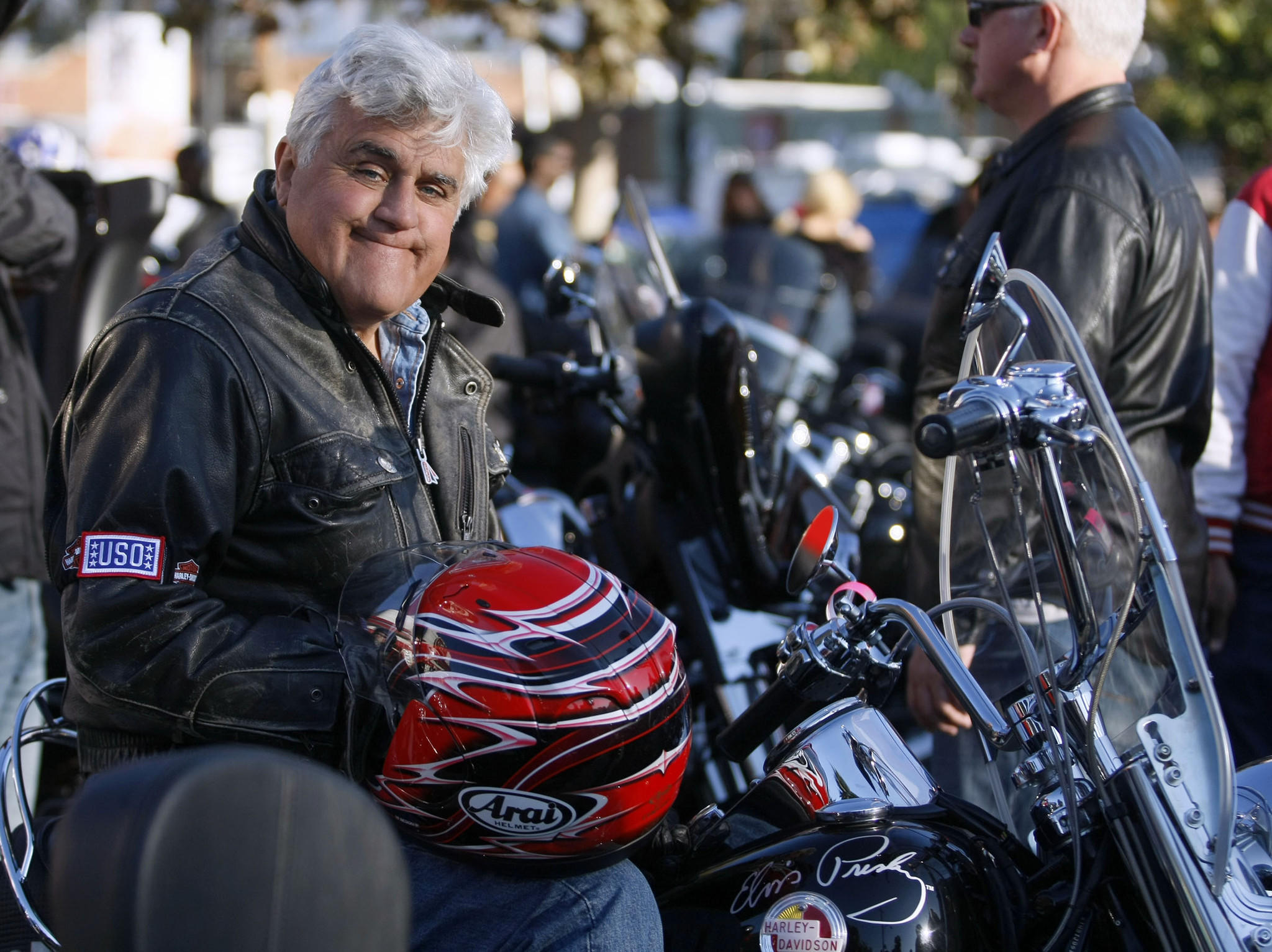 Comedian Jay Leno at Harley Davidson Motorcycles in Glendale just before the 30th annual Love Ride on Sunday, Oct. 20, 2013. The ride, a fundraiser for the USO and its programs, goes from the Glendale store to Castaic Lake.
