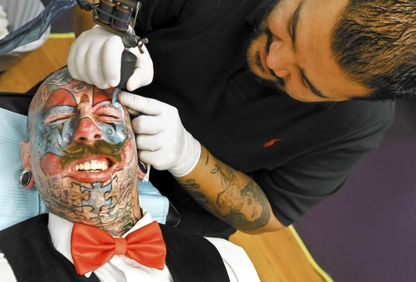 Barber chair tattoo - Richie The Barber Left Receives More Facial Ink From Artist Rick