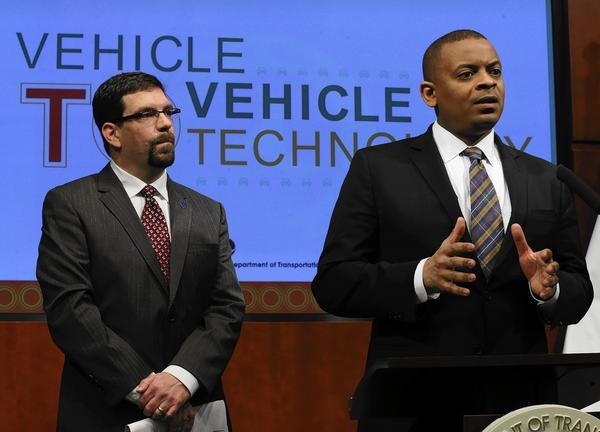 "The Transportation Department did not say how much vehicle-to-vehicle communication systems might cost. ""The safety benefits here will clearly outweigh any concerns about cost,"" Transportation Secretary Anthony Foxx says."