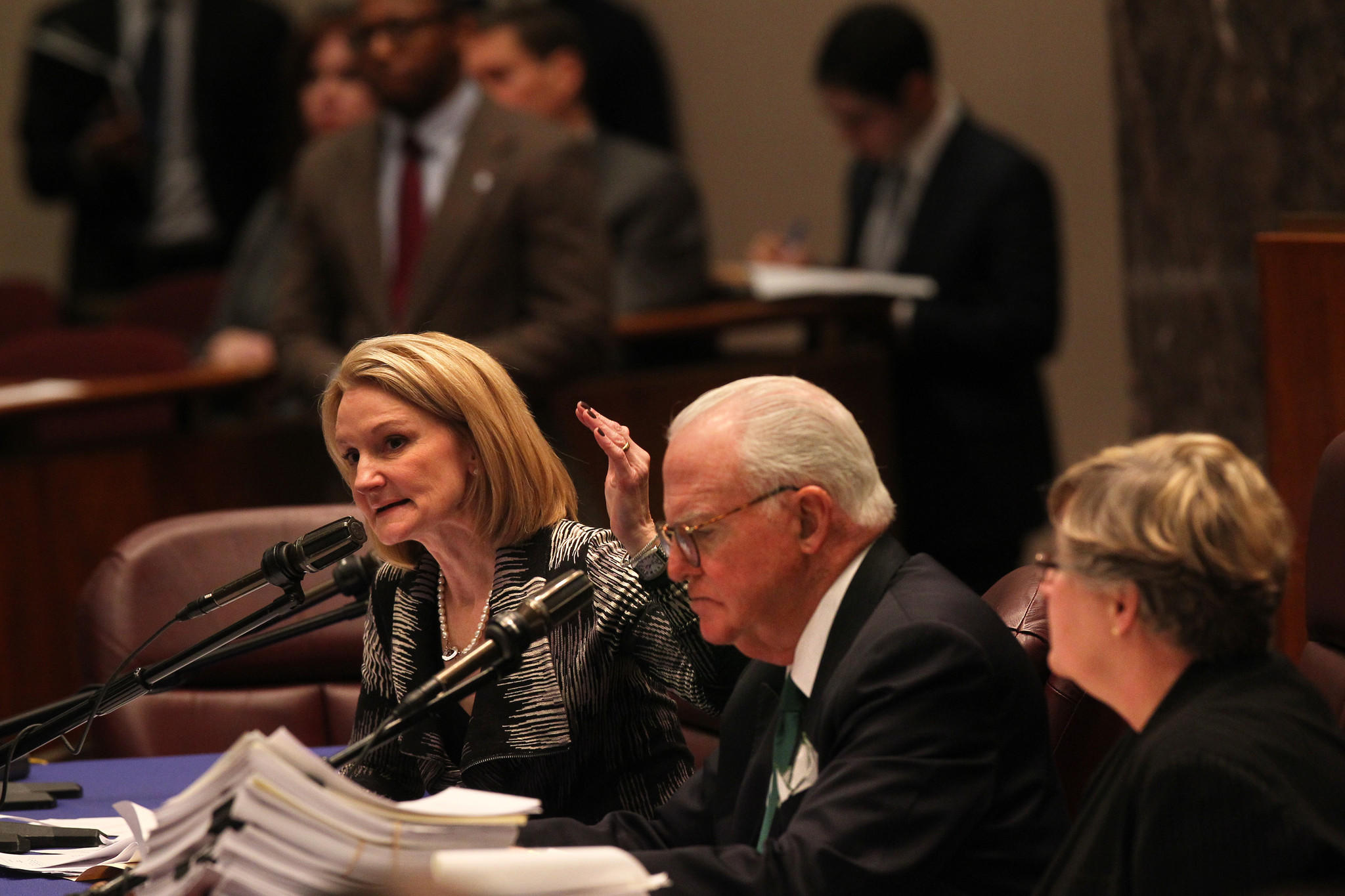 CFO Lois Scott, left, Ald. Edward Burke, 14th and Marla Kaiden, Chief Administrative Officer for the Committee on Finance Chicago City Council answer questions during the finance committee meeting Monday.