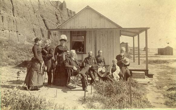 Visitors to Santa Monica Beach in the 1880s.