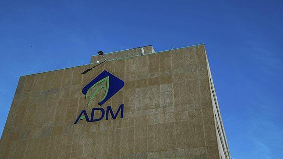 The Archer Daniels Midland logo on a building in Decatur.