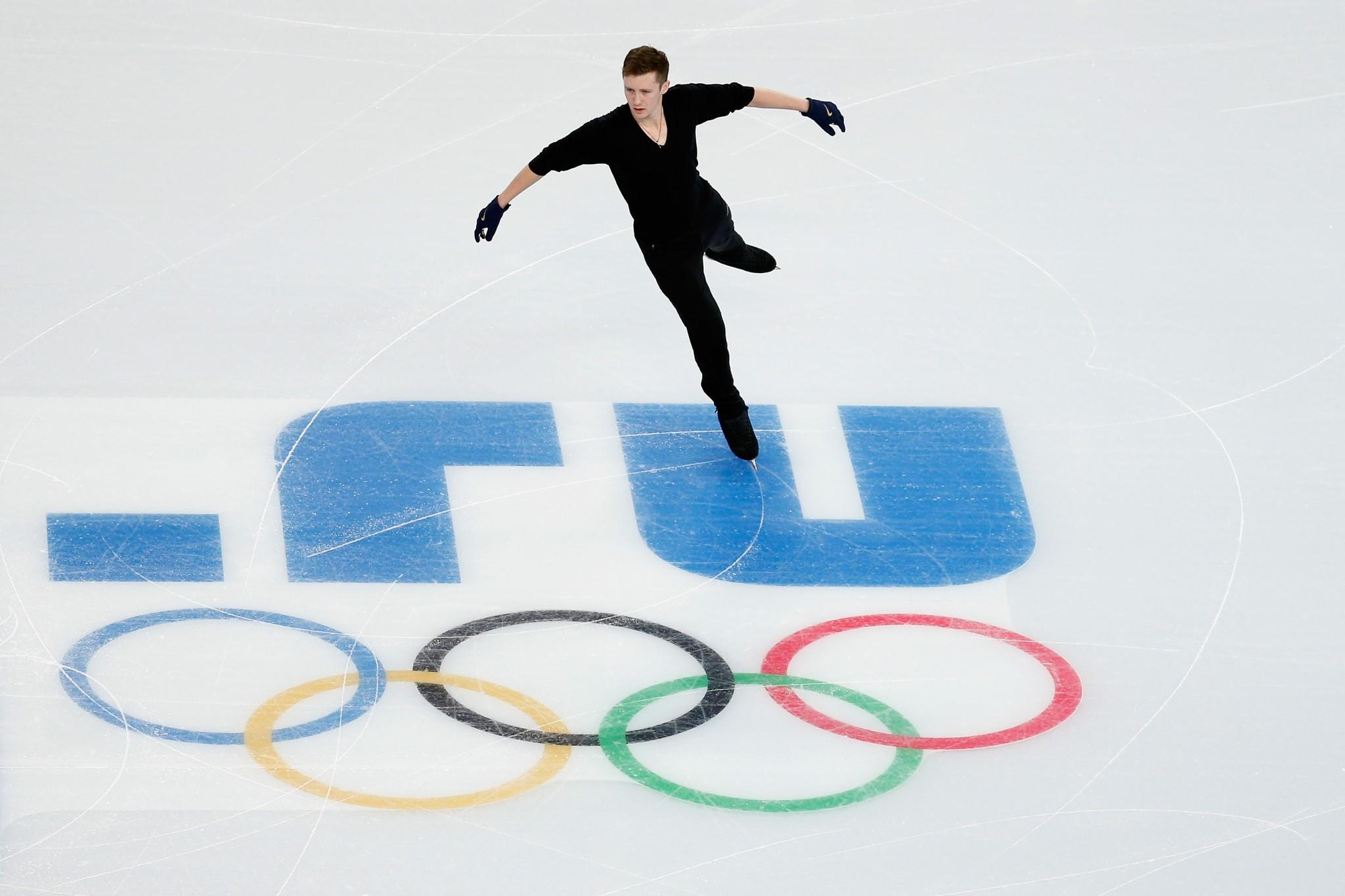 Jeremy Abbott during Monday's practice at the Iceberg figure skating arena.