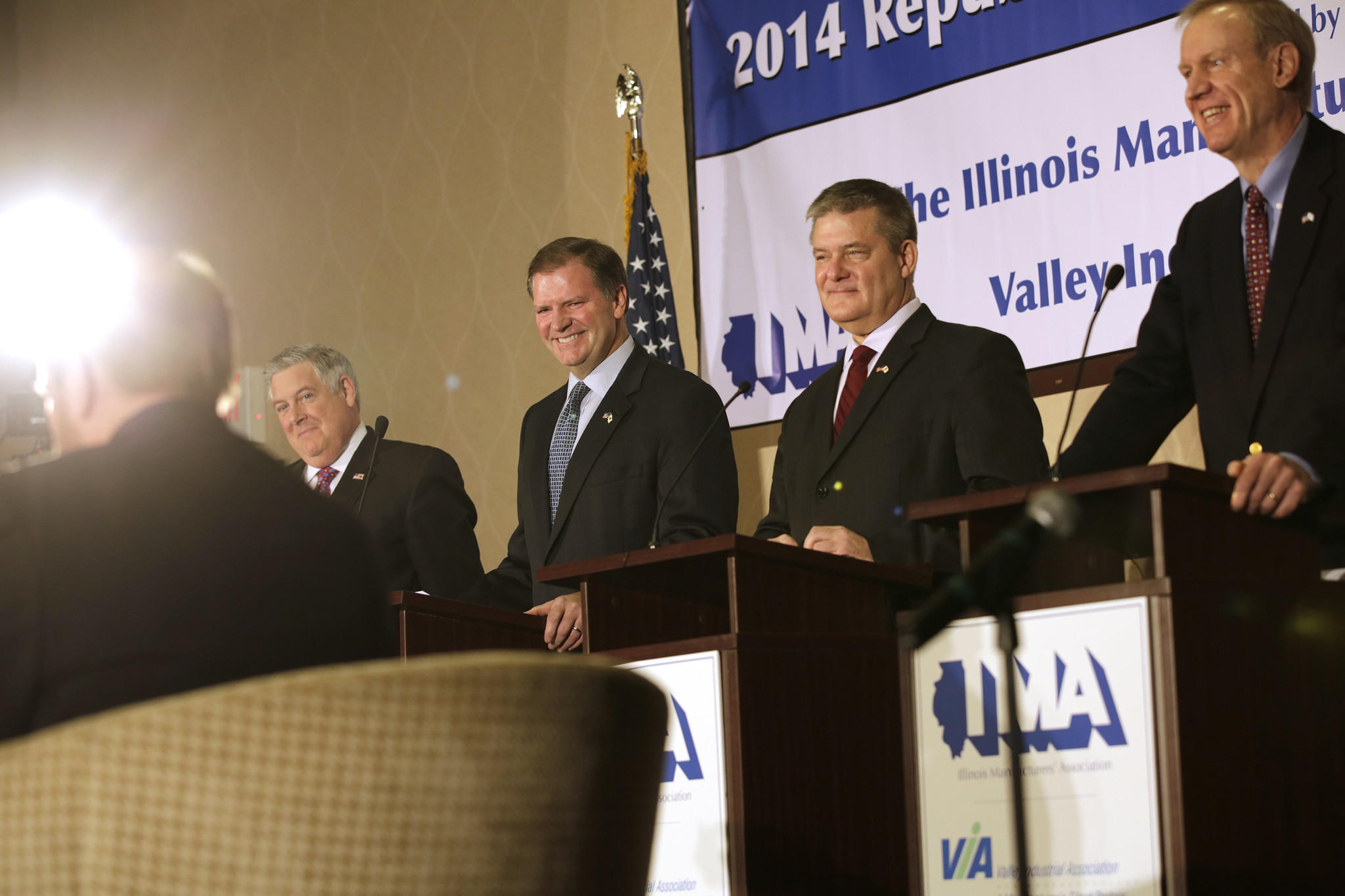 State Senators Kirk Dillard, left, and Bill Brady, Treasurer Dan Rutherford and businessman Bruce Rauner, participate in a 2014 Republican Gubernatorial Debate sponsored by the Illinois Manufacturers' Association and the Valley Industrial Association on Tuesday at the Naperville Marriott.
