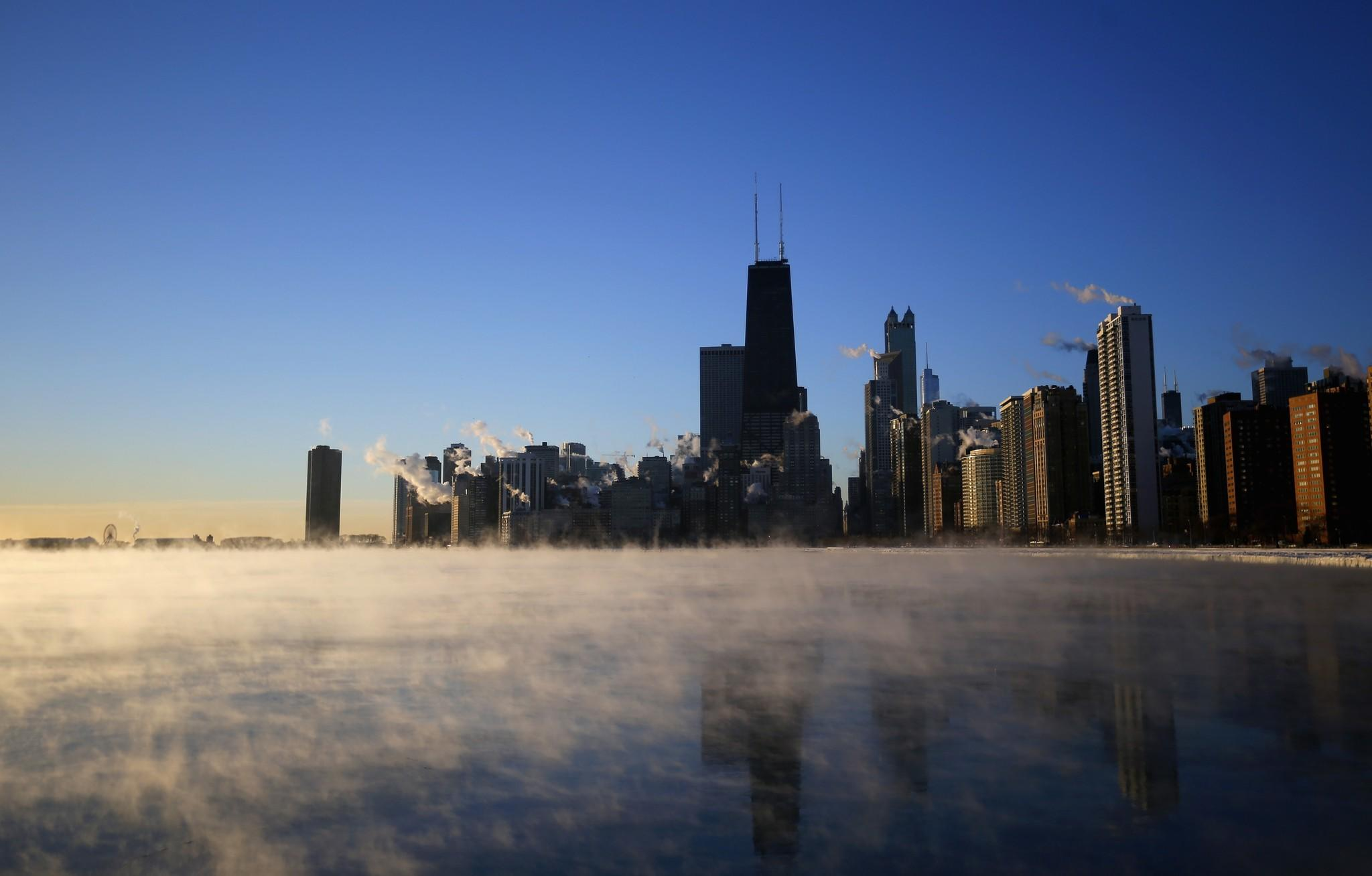 The skyline of Chicago is seen with the steam fog coming off Lake Michigan on Jan. 28.