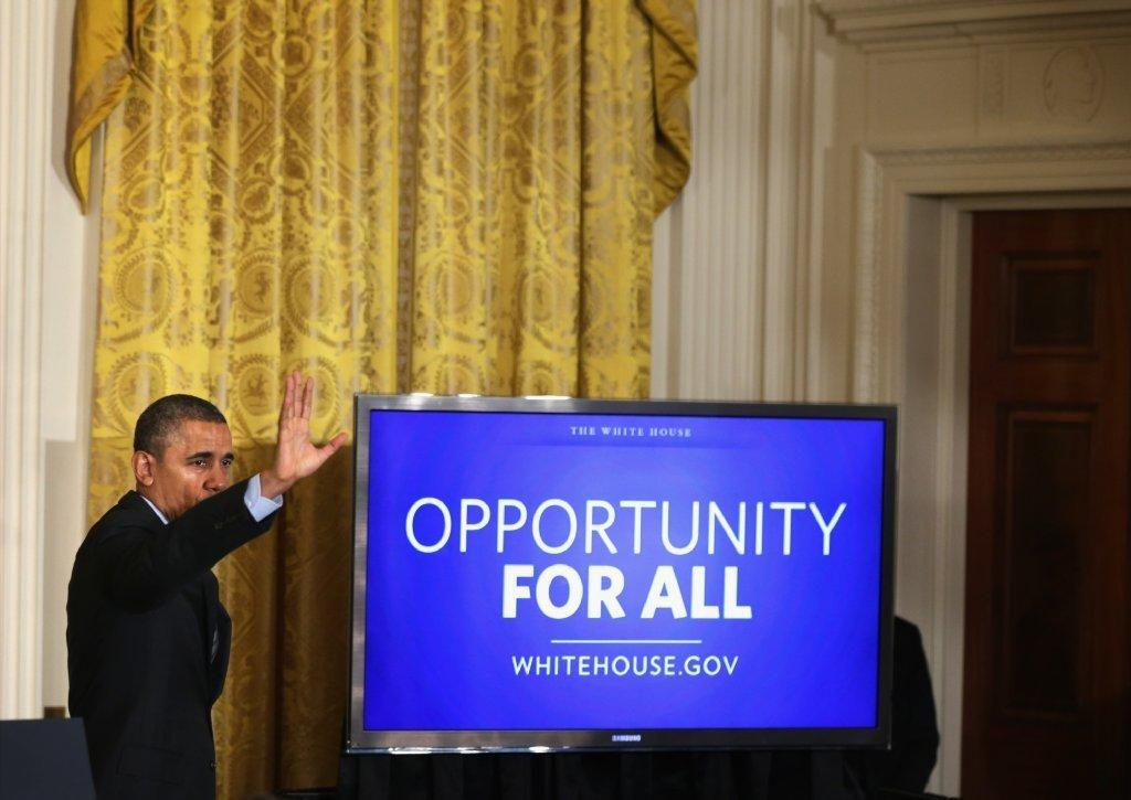 President Obama promotes his plan to help America's long-term unemployed at an event last month.