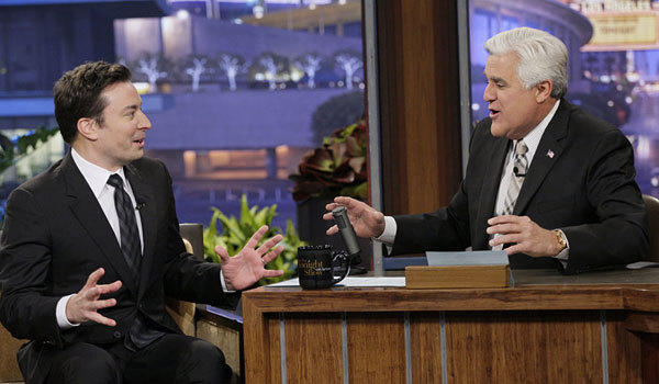 Jimmy Fallon, left, Jay Leno on 'The Tonight Show'
