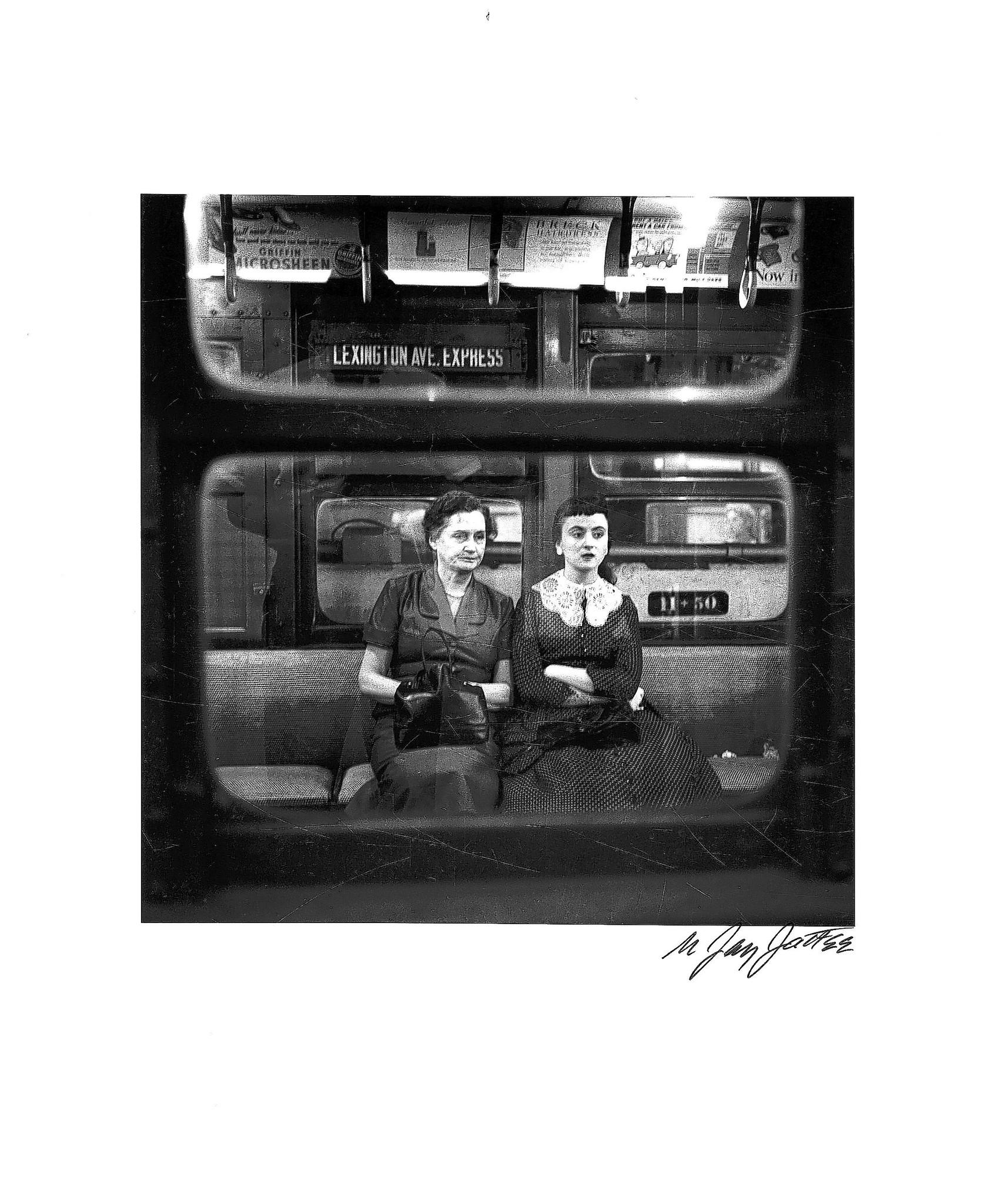 """Woman and Young Girl in Subway"" (1951), by N. Jay Jaffee. This photo is included in the UMBC exhibit, ""N. Jay Jaffee Photographs from Public to Personal, 19471997."""