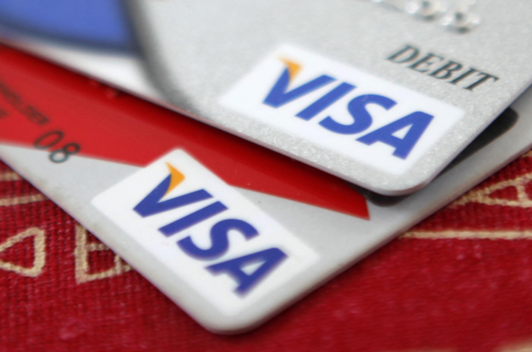 Visa credit cards are displayed in Washington in this October 27, 2009 file photo.