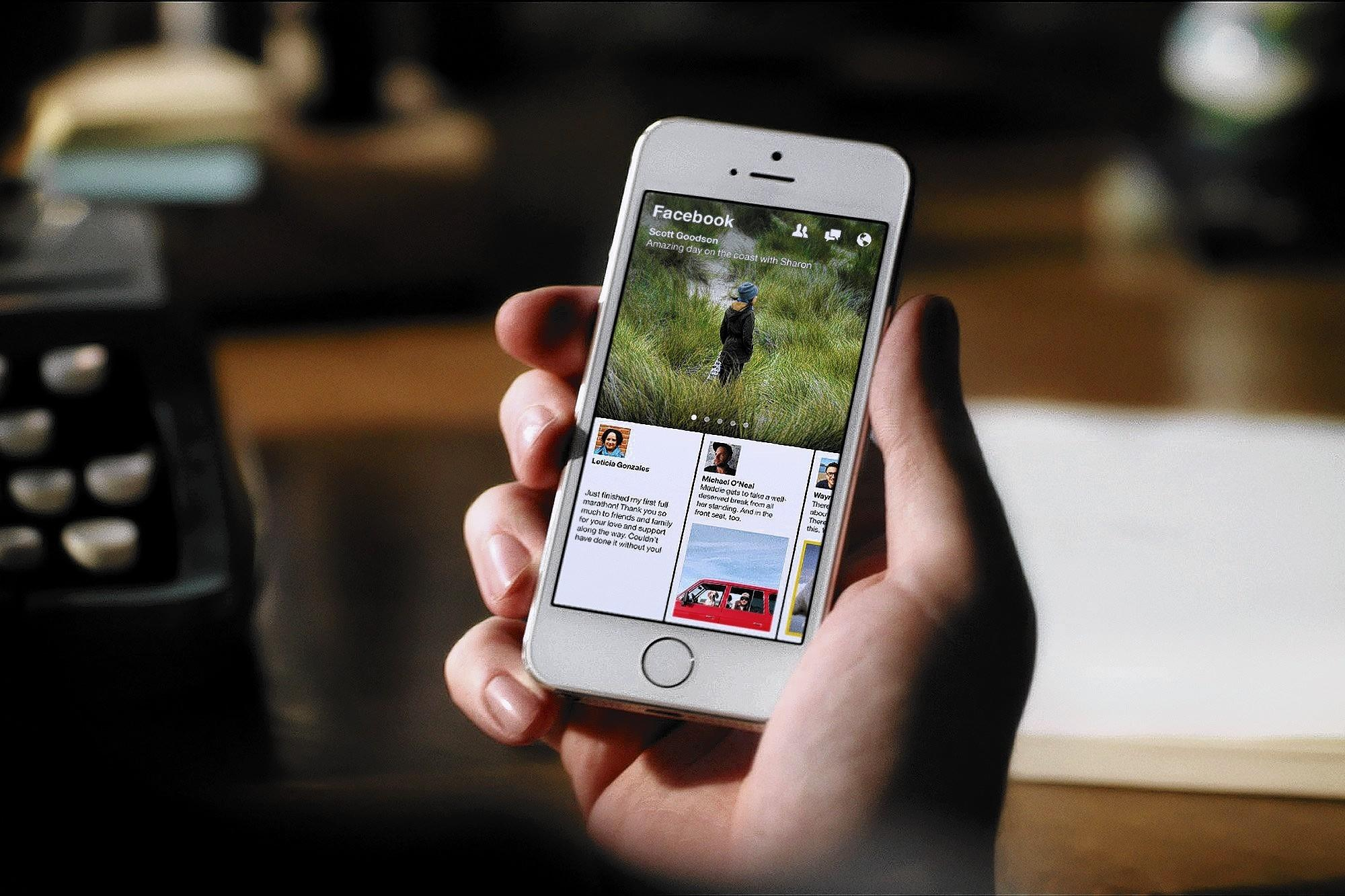 Facebook's mobile news reader, Paper, is used on an iPhone. For now, Facebook wants to establish Paper as the go-to news reader, taking on Google News, Twitter, mobile app Flipboard and LinkedIn's Pulse.