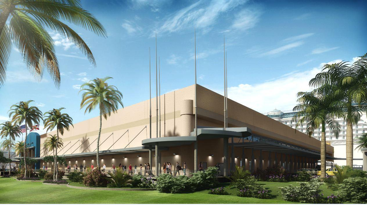 A rendering of new covered walkways at Port Everglades' cruise terminal 4.