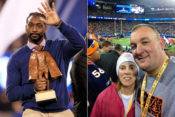 Charles Tillman with the Walter Payton NFL Player of Year trophy; Greg and Tiffany Doltz at Sunday's Super Bowl with tickets from Charles Tillman.