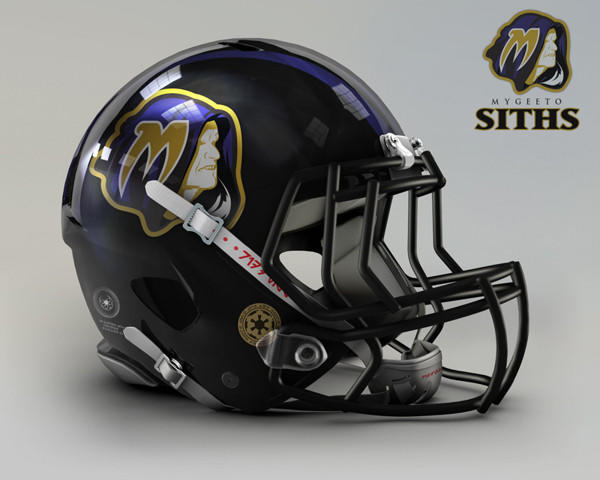 Artist John Raya redesigned the helmet for all 32 NFL teams, replacing the city and mascot with planets and creatures from the Star Wars universe. The Baltimore Ravens are the Mygeeto Siths.