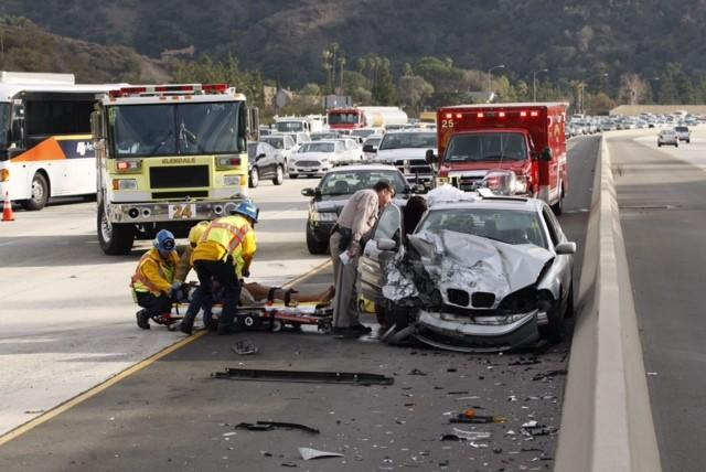 A six-vehicle collision on Feb. 4, 2014 shut down all but one lane on the northbound Glendale (2) Freeway.