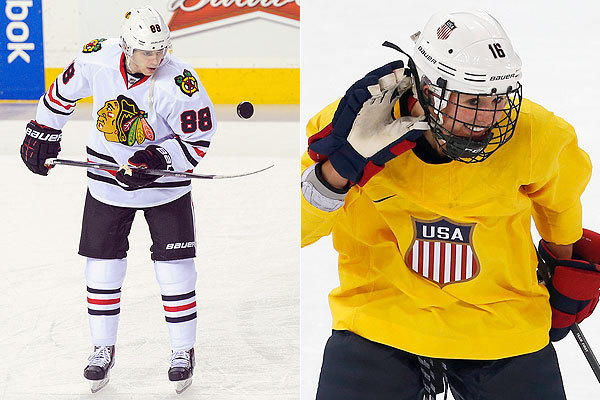 The Blackhawks' Patrick Kane and Team USA's Kelli Stack.
