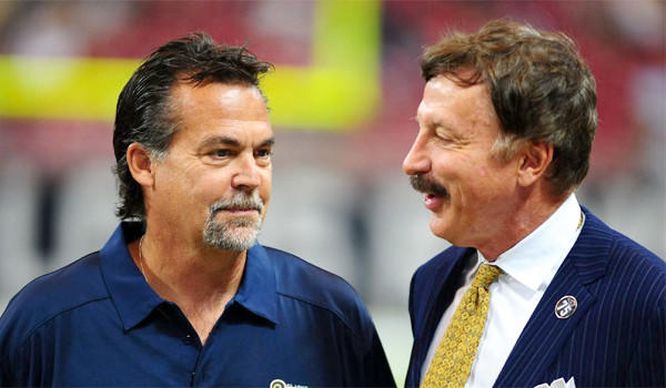 St. Louis Rams Coach Jeff Fisher talks with the team's owner Stan Kroenke prior to a game at the Edward Jones Dome on Sept. 8. Kroenke recently acquired a parcel of land in Los Angeles which could be used to build and NFL stadium.