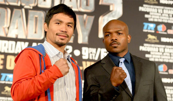 Manny Pacquiao,left, will get his rematch against Timothy Bradley, right, on April 12 at MGM Grand in Las Vegas. Bradley won their June 2012 bout by split-decision.