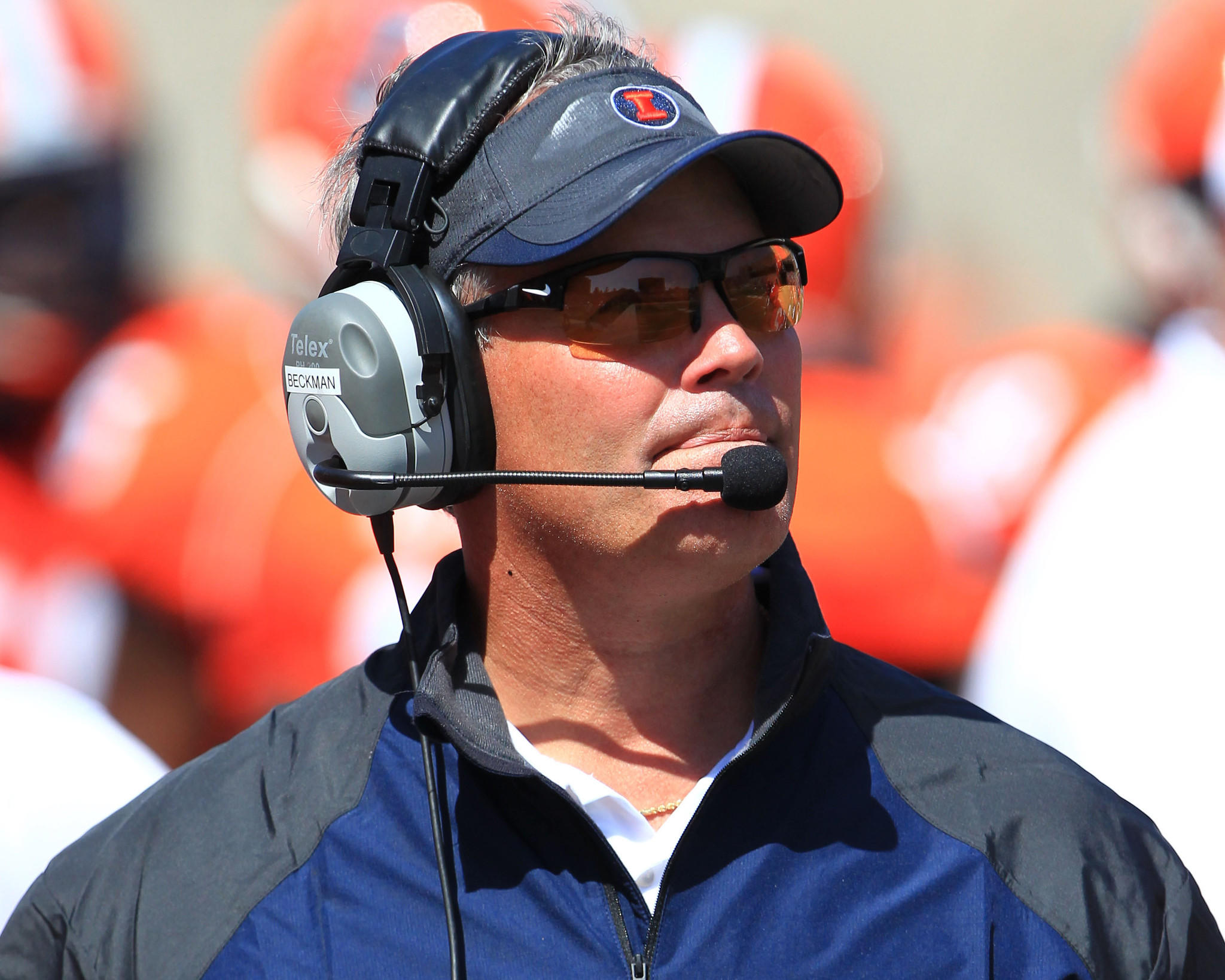 Illini coach Tim Beckman during the game against Southern Illinois at Memorial Stadium.