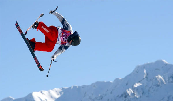 U.S. skier Joss Christensen gets in a practice run for Ski Slopestyle ahead of the Sochi 2014 Winter Olympics at the Extreme Park at Rosa Khutor Mountain.
