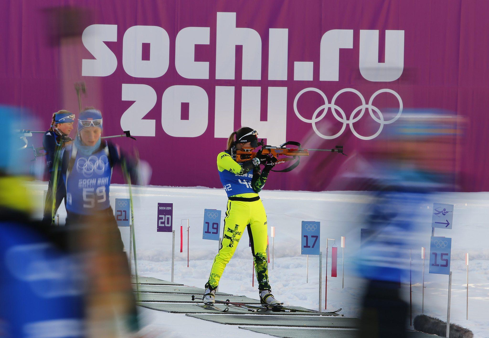 Martina Chrapanova of Slovakia takes part in a biathlon training session.