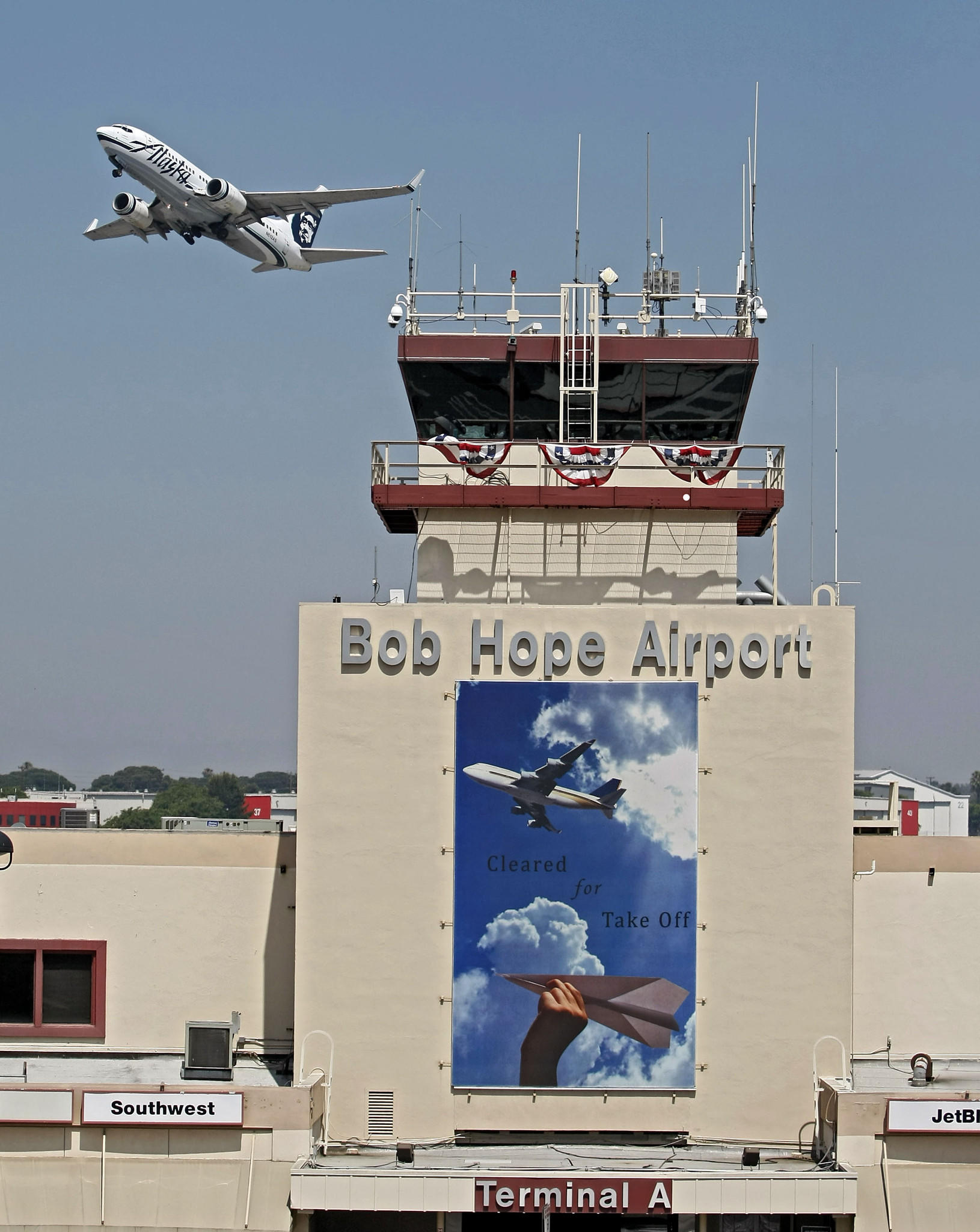 An airplane takes off from the Bob Hope Airport in Burbank on Tuesday, August 6, 2013.