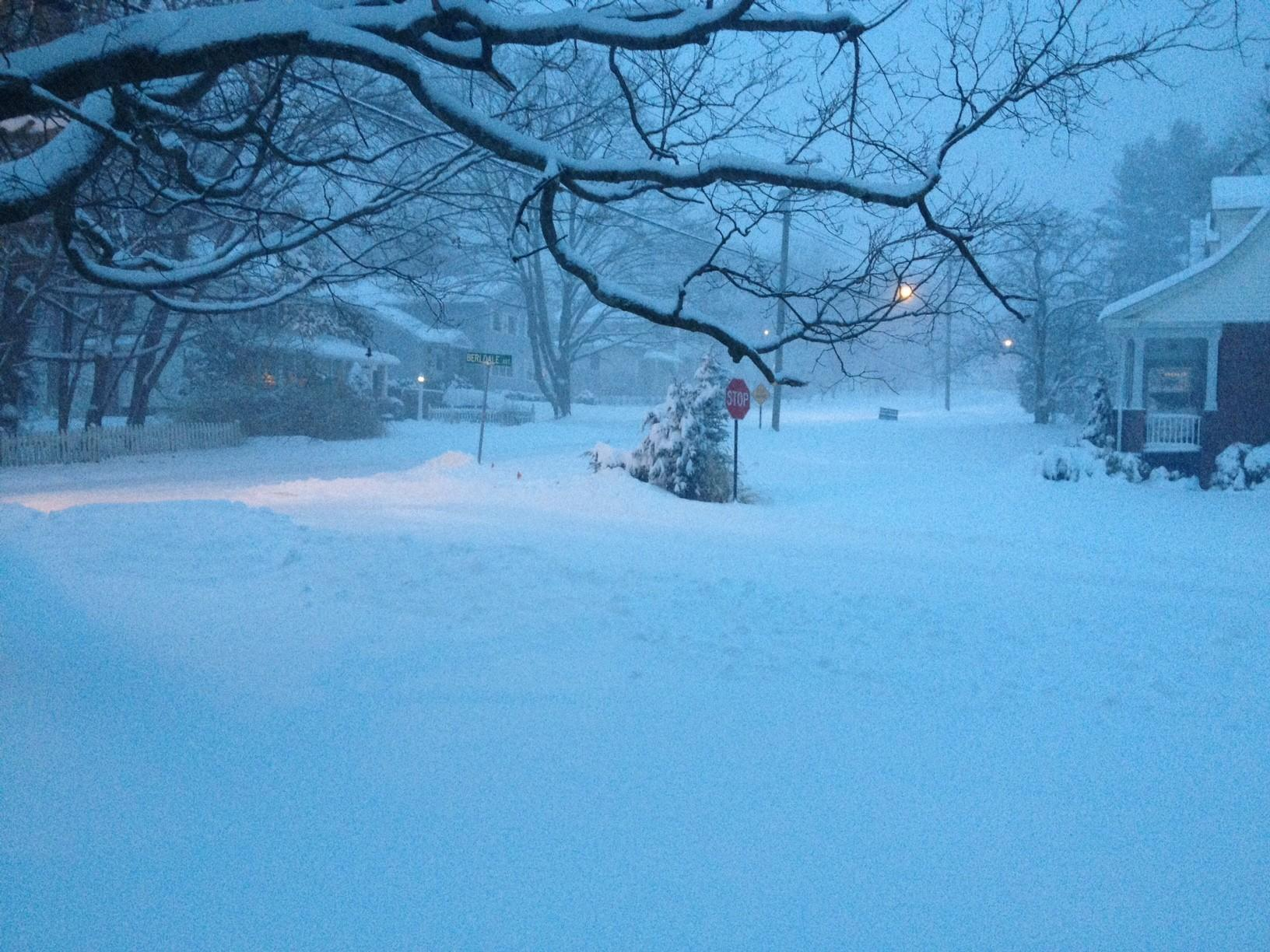 Scenes like this greeted residents throughout Connecticut on Wednesday morning as a storm that was expected to drop four to eight inches got started.