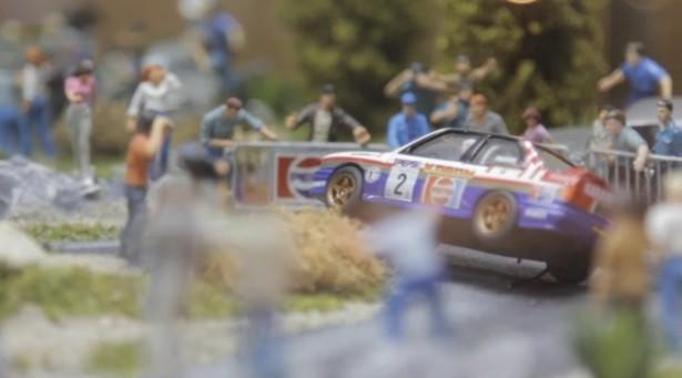 A still from one of toy collector Billy Karam's 400 diorama's of toy cars. This one features a rally he raced in as an amateur driver.