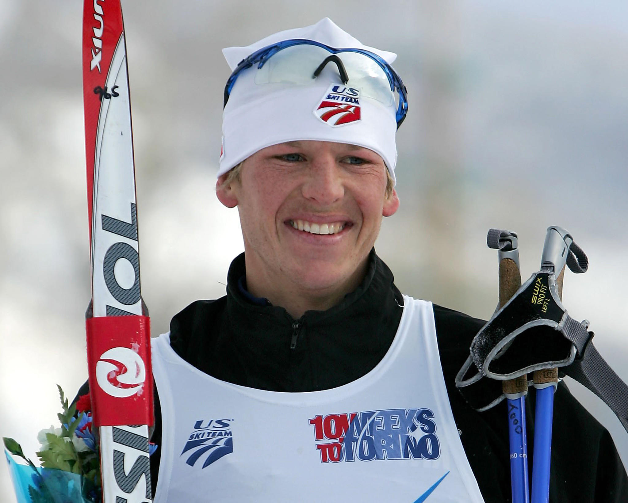 Todd Lodwick of the US takes the podium after winning the gold medal in the 7.5 km cross country portion of the Nordic Combined Championships at Howelsen Hill 21 January 2006 at Howelsen Hill in Steamboat Springs, Colo.