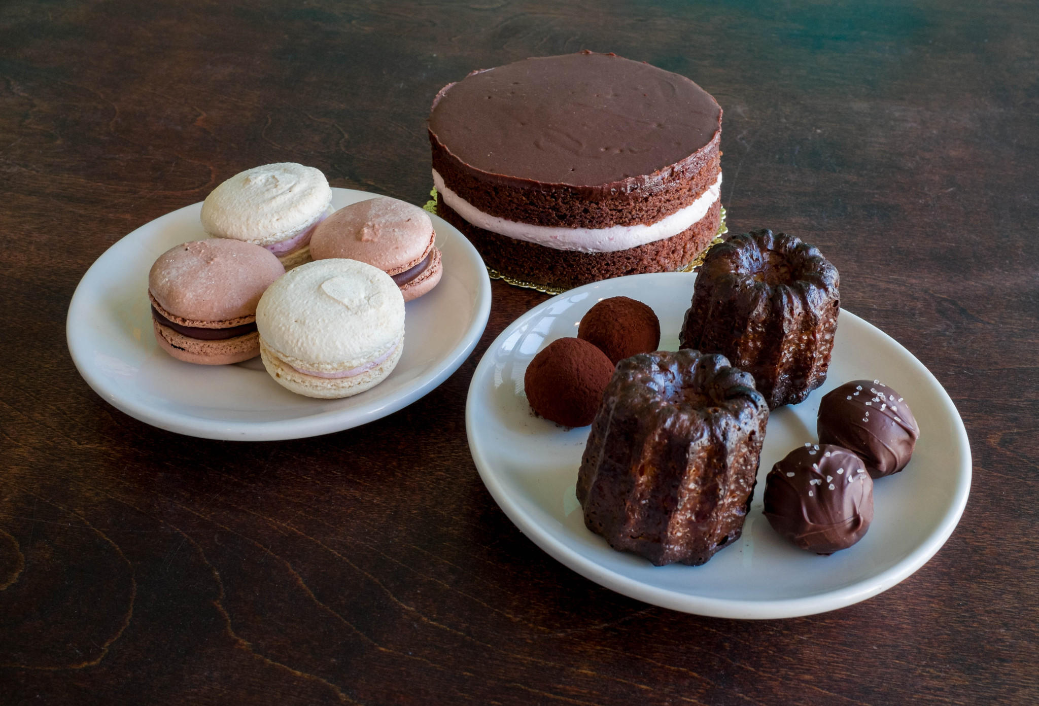 Bad Wolf Coffee's Valentine's Day gift box features macarons, a chocolate-raspberry cake for two, chocolate caneles and truffles.