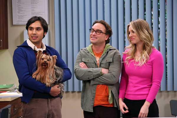 "A sick puppy is rushed to the vet in ""The Big Bang Theory"" on CBS. With Kunal Nayyar, left, Johnny Galecki and Kaley Cuoco."