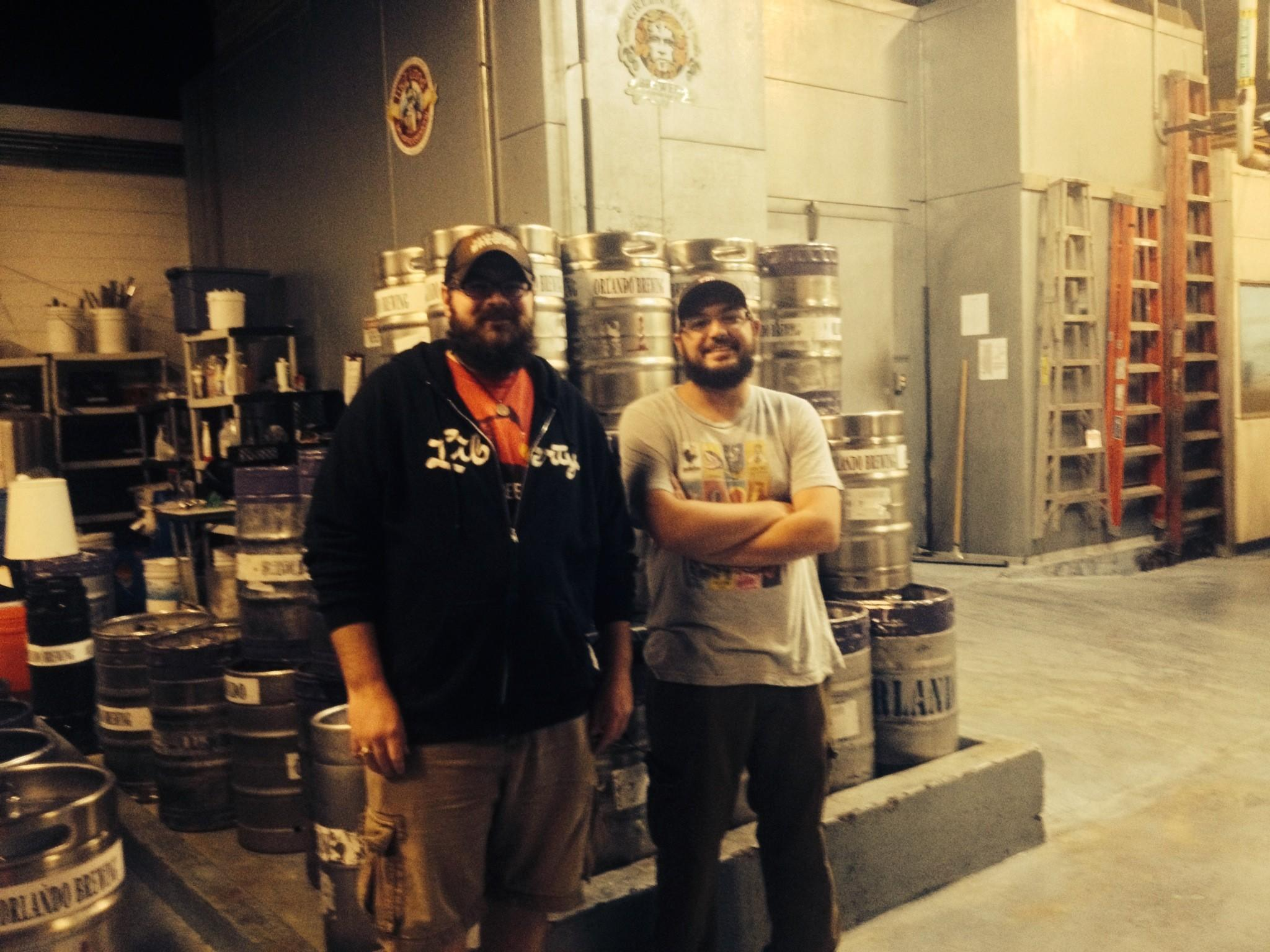 "Eastbound and down: Brandon Wurtz (left) and Michael Roberts visit Orlando Brewing on the ""Brews Travelers 365"" tour."