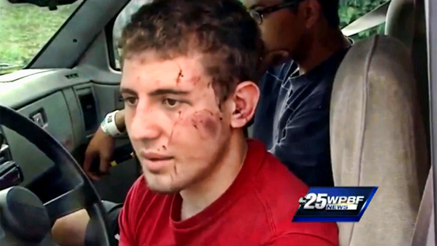 Tony Grein, 18, talks to WPBF tv about his encounter with a naked man who tried to attack him Tuesday night. Grein had to use a box cutter to escape. Two others where injured in the attack, a retired New York City police officer and a 10-year-old who was hurt while trying to scramble under a gate to escape.