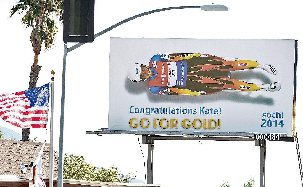A billboard congratulating U.S. Olympic luger Kate Hansen, a La Cañada High graduate, was put up on Foothill Blvd. in La Cañada. Photographed on Monday, February 3, 2014. (Roger Wilson/Staff Photographer)