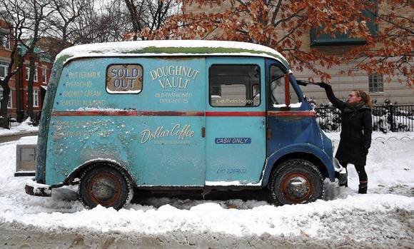 Snowy food truck