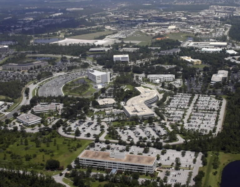 Central Florida Research Park is shown here, with the Army and Navy training complex right of center.