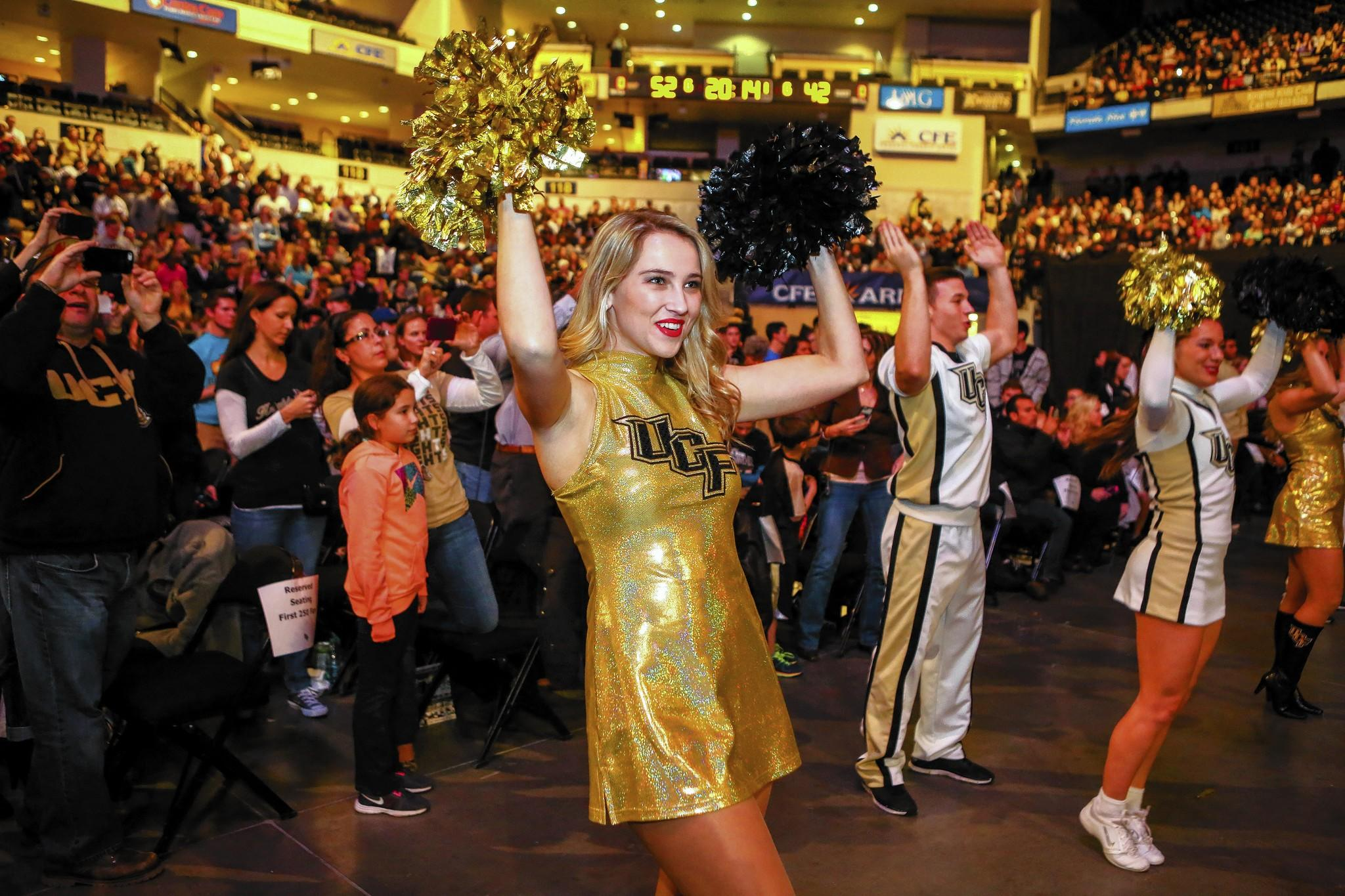 UCF dancers and cheerleaders perform as fans and alumni pack the CFE arena to celebrate the Knights BCS Fiesta Bowl victory over Baylor in Orlando on Wednesday, January 08, 2014.