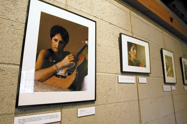 Photographer Julio Moline's portraits of folk singer Joan Baez from 1981 are on display at Penelope's Cafe Books & Gallery in La Cañada Flintridge, on Tuesday, Feb. 4, 2014.