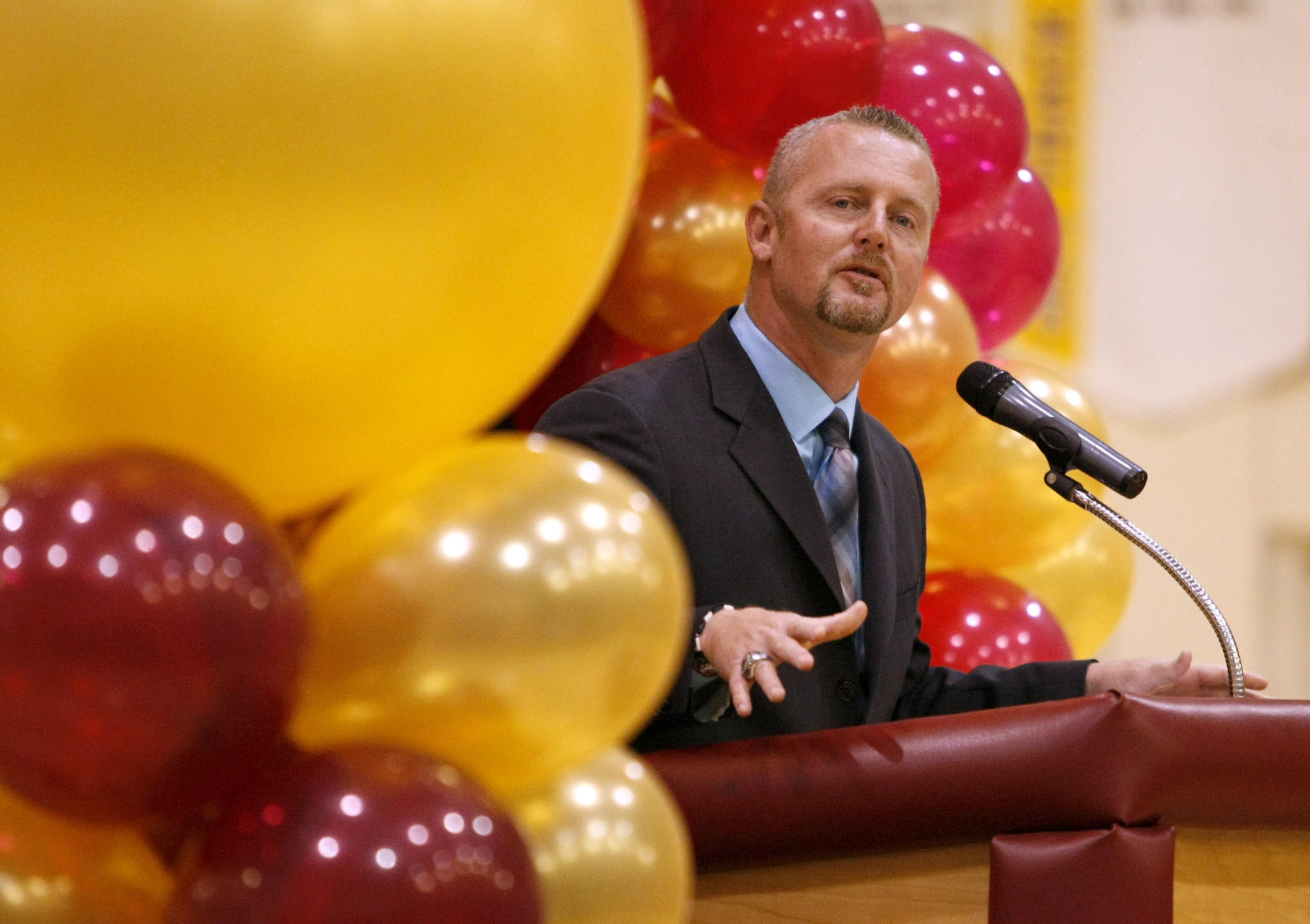 """La Cañada High School 7/8 principal Ryan Zerbel congratulated the students after the school was named a 2014 """"Schools to Watch"""" model middle school at an assembly in the school's gym on Friday, January 31, 2014."""