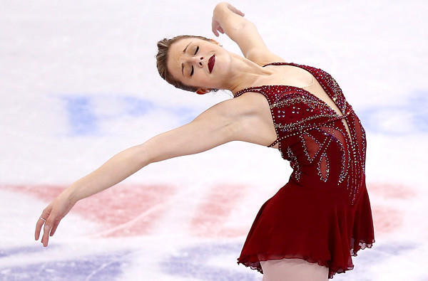 Ashley Wagner strikes a pose during her free skate at the U.S. Figure Skating Championships at TD Garden in Boston.