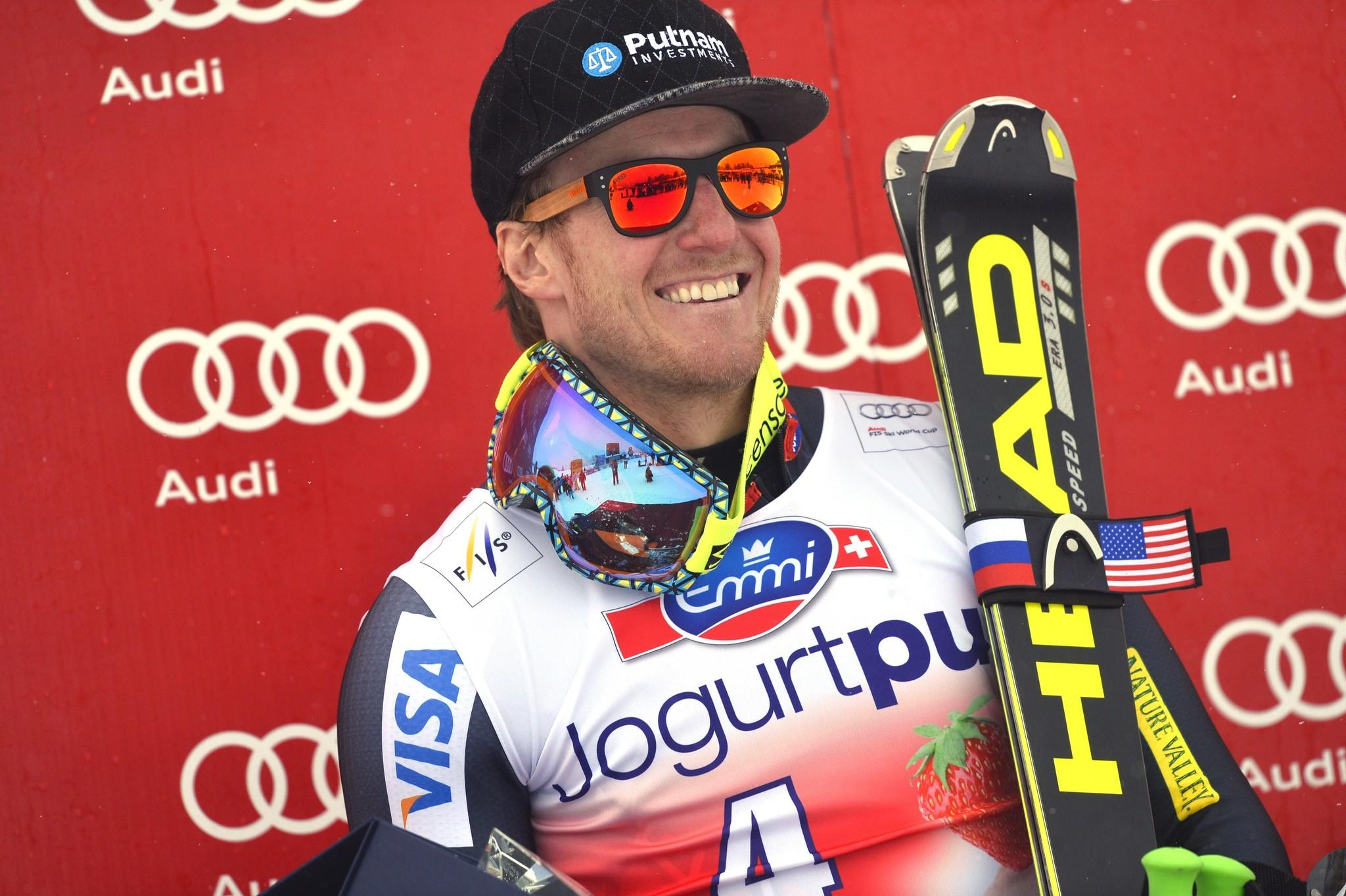 Ted Ligety takes 1st place during the Audi FIS Alpine Ski World Cup Men's Giant Slalom in St. Moritz, Switzerland. (Sindy Thomas/Getty Photo)
