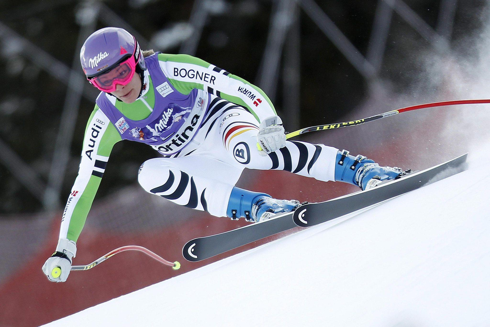 Germany's Maria Hoefl-Riesch speeds down the course during the women's FIS Alpine Skiing World Cup SuperG race in Cortina d'Ampezzo, Italy. (Andrea Solero/EPA Photo)