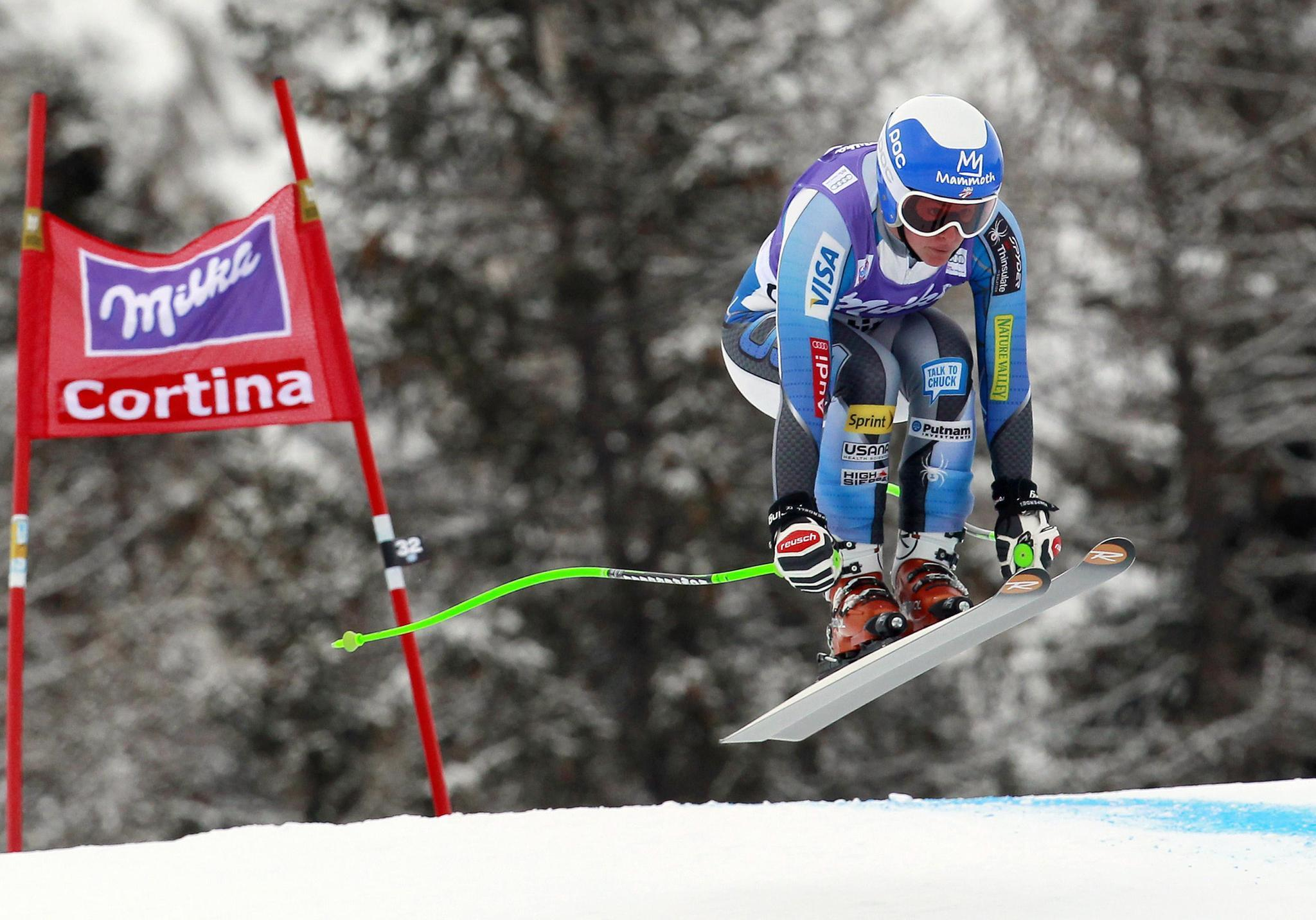 Stacey Cook clears a gate in Cortina D'Ampezzo. (Alessandro Garofalo/Reuters Photo)