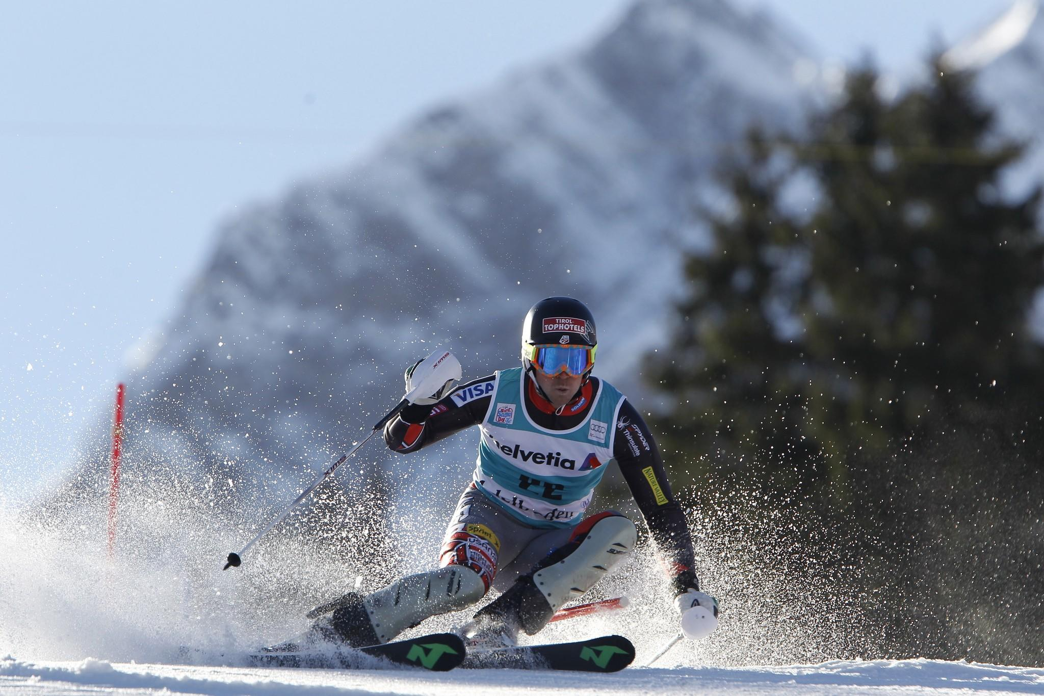 David Chodounsky competes during the Audi FIS Alpine Ski World Cup slalom in Adelboden, Switzerland. (Alexis Boichard/Getty Photo)