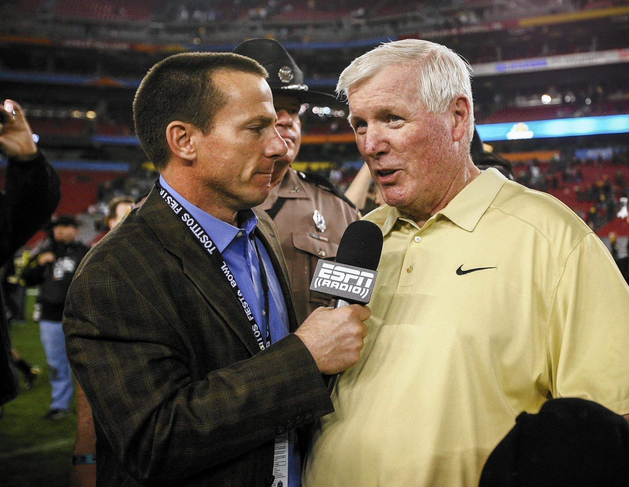 UCF coach George O'Leary is interviewed after the Knights' 52-42 victory over Baylor in the Tostitos Fiesta Bowl at the University of Phoenix stadium in Glendale, Ariz.