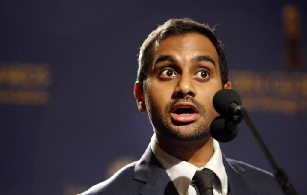 Comedian and actor Aziz Ansari announces nominations for the Golden Globe Awards on Dec. 12, 2013, in Los Angeles.