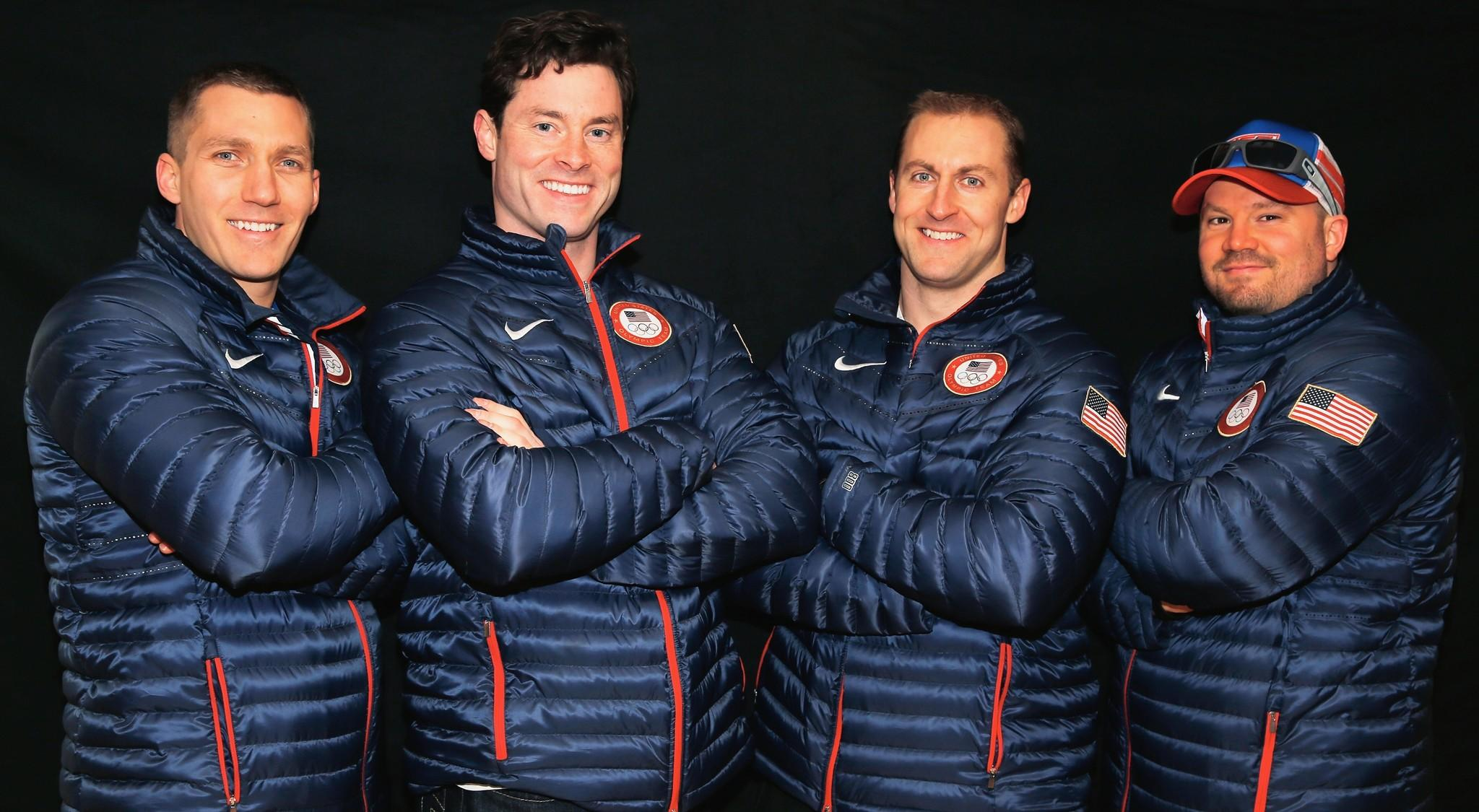 Chris Fogt, Steve Langton, Curt Tomasevicz and Steven Holcomb pose for a portrait ahead of the Sochi 2014 Winter Olympics. (Scott Halleran/Getty Photo)