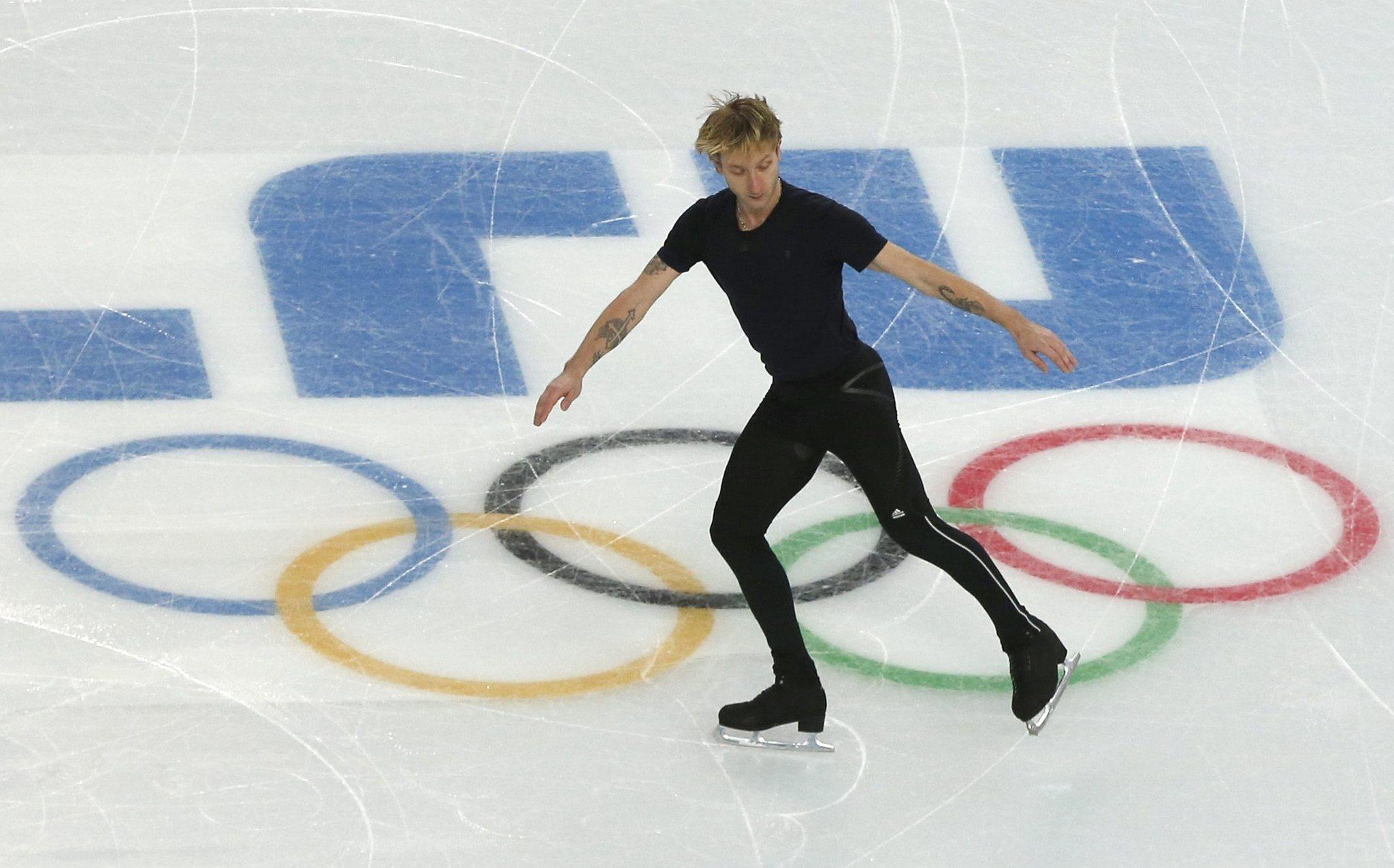 Russia's Evgeny Plushenko during a practice session at the Iceberg Skating Palace in Sochi. (Barbara Walton/EPA Photo)