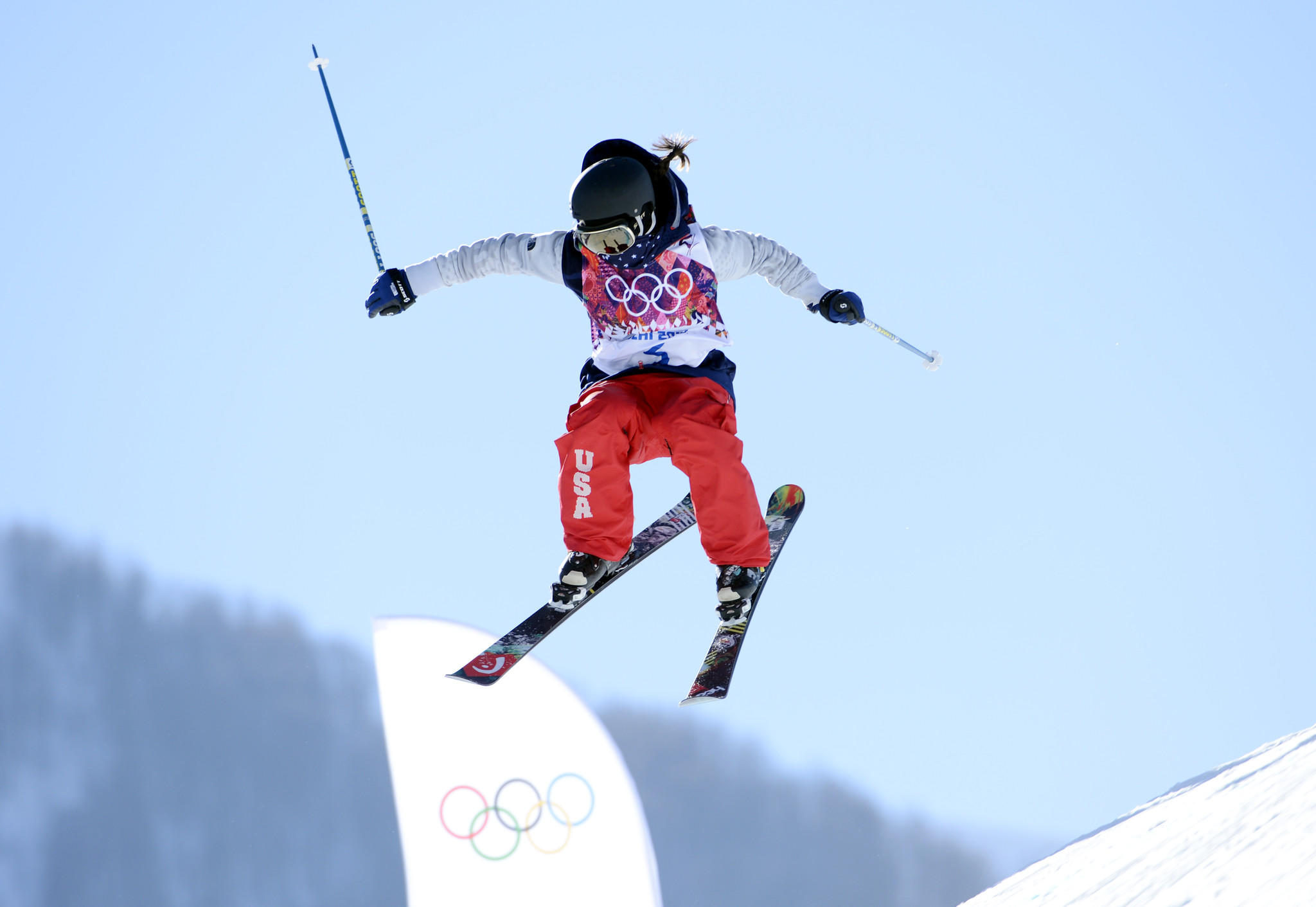 Keri Herman practices for slopestyle skiing during media day prior to the Sochi 2014 Olympic Winter Games at Rosa Khutor Extreme Park. (Jack Gruber/USA TODAY Sports Photo)