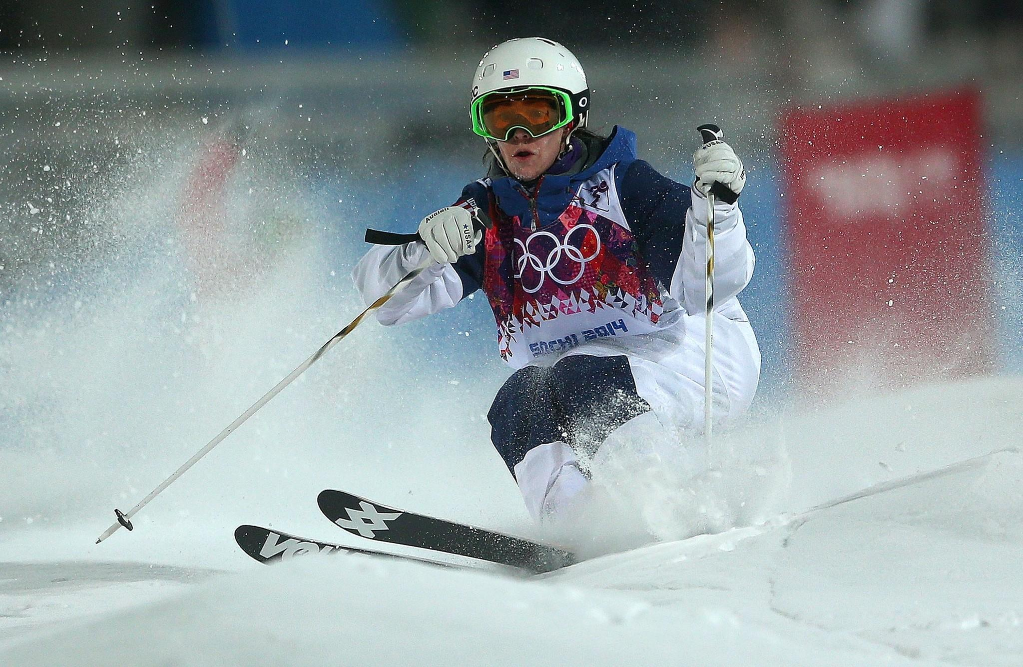 Hannah Kearney practices during training for Moguls competition at the Extreme Park at Rosa Khutor Mountain.